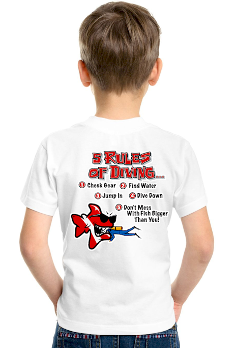 5 rules of diving… kids dive shirt - Bob the Fish