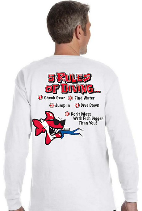 5 rules of diving… men`s dive long sleeve thermal shirts - Bob the Fish