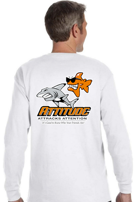 Attitude attracts attention men's long sleeve polo - Bob the Fish