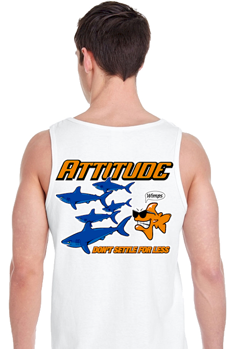 Attitude attracts attention men's sleeveless tank tops - Bob the Fish