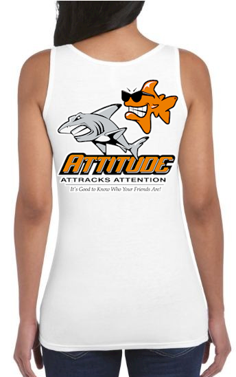 Attitude attracts attention ladies personalized tank tops - Bob the Fish