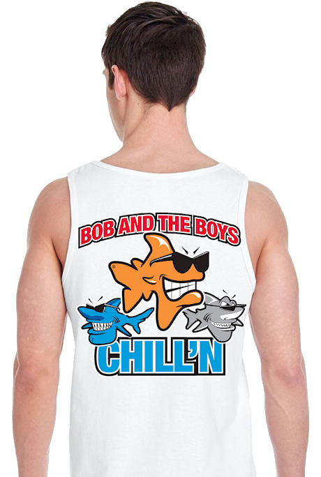 It's all who you hang with men's personalized tank tops - Bob the Fish