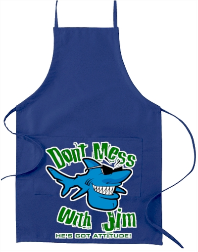 Don't mess with Jim charcoal bbq grill apron - Jim the Shark