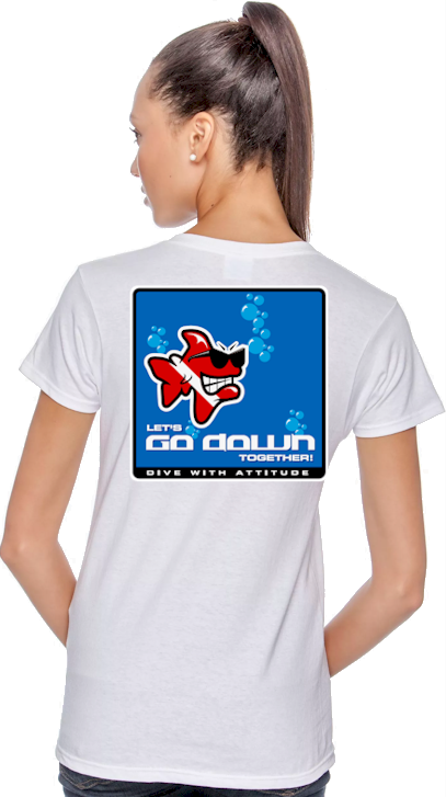 Let's go down together ladies dive funny shirts - Bob the Fish