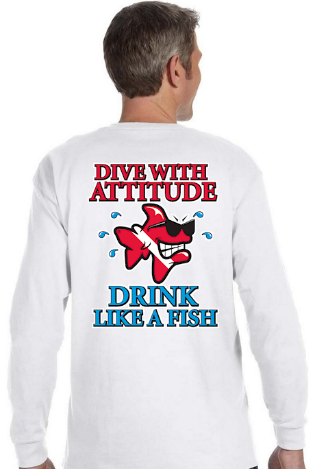 Dive with attitude drink like a fish men`s long sleeve t - Bob the Fish
