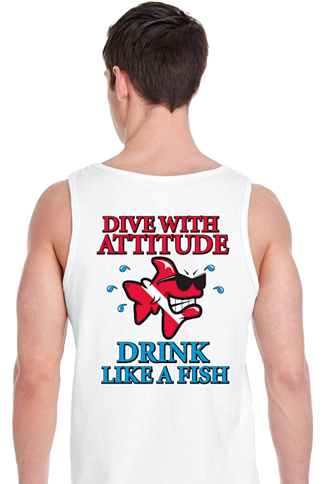 Dive with attitude drink like a fish men's tank tops - Bob the Fish