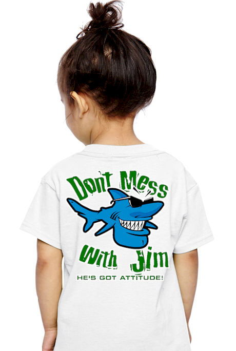 Don`t mess with Jim kids cool tee shirts - Jim the Shark