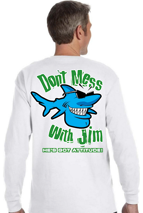 Don't mess with Jim men's long sleeve crew - Jim the Shark