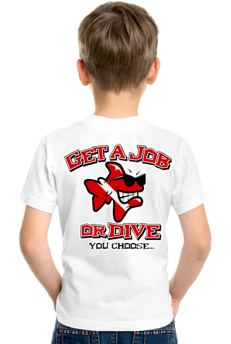 Get a job or dive kids polo t shirts - Bob the Fish