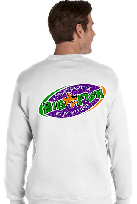 If you can't swim with the big fish… men's fleece sweatshirts - Bob the Fish