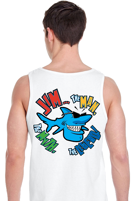 Jim... the man, the myth, the legend! men's gildan tank top - Jim the Shark