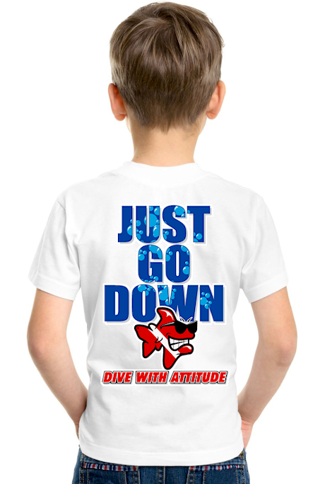 Just go down kids personalised dive t shirts- Bob the Fish