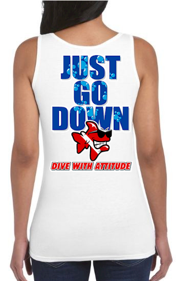 Just go down ladies dive tank tops for juniors - Bob the Fish