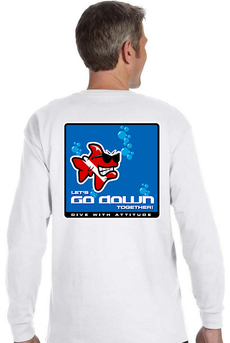 Let`s go down together men`s dive long sleeve tee shirts - Bob the Fish