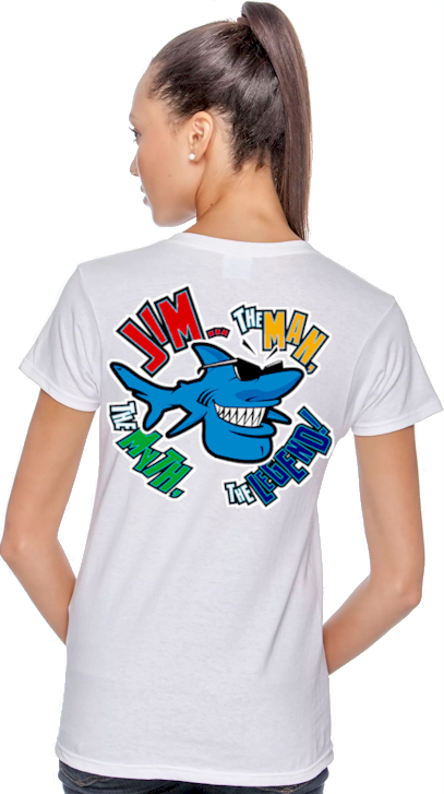 Jim... the man, the myth, the legend! ladies t shirts for sale - Jim the Shark