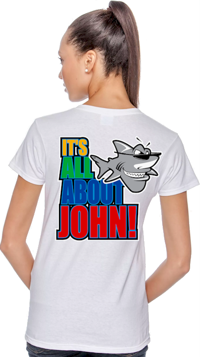 It`s all about John! ladies crazy t shirts - John the Shark