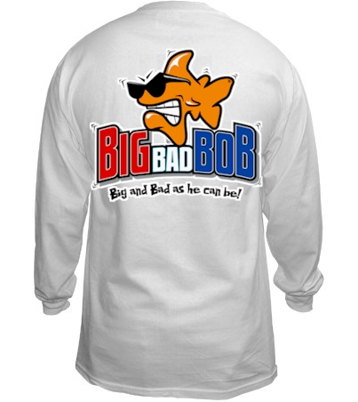 Big bad Bob men's white long sleeve shirt - Bob the Fish
