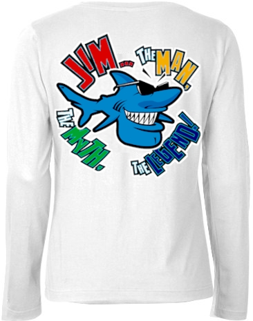 Jim... the man, the myth, the legend! ladies white long sleeve shirt - Jim the Shark