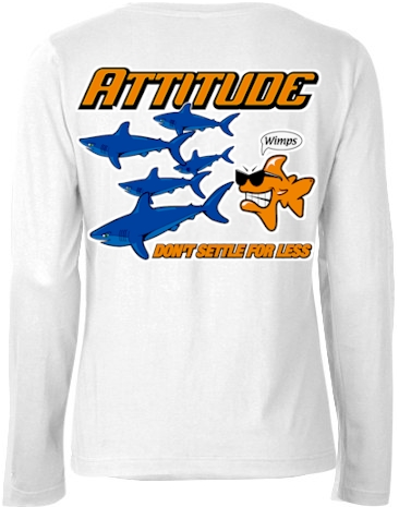Attitude don't settle for less ladies long sleeve v neck - Bob the Fish