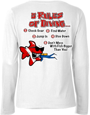 5 rules of diving… ladies dive long sleeve white t shirt - Bob the Fish