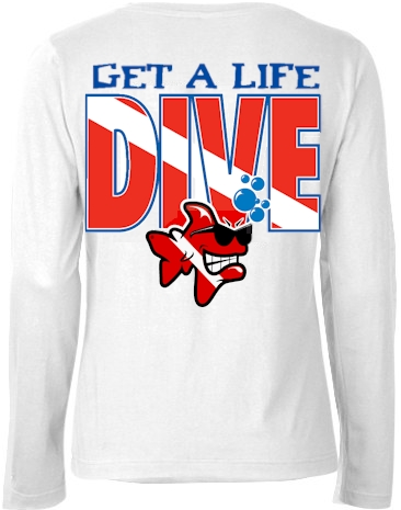 Get a life dive ladies long sleeve turtleneck - Bob the Fish
