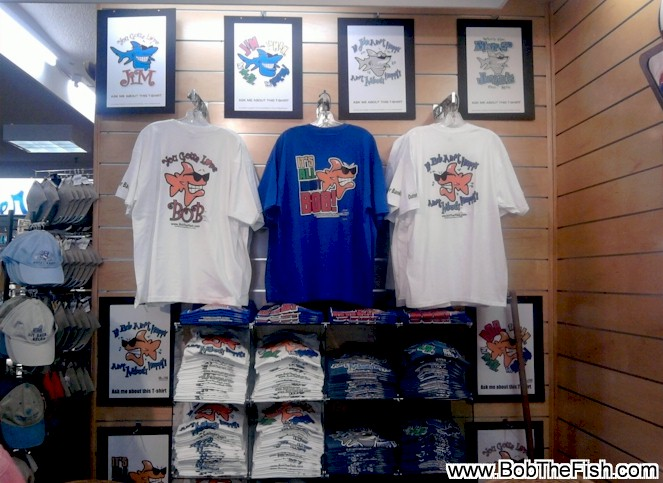 A Bob the Fish, Jim the Shark & John the Shark display spotted at Kitty Hawk Sports in Nags Head, NC.