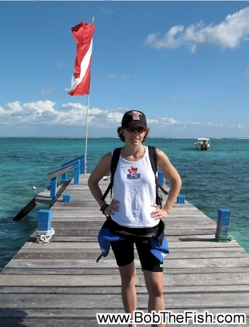Claudette sporting a Bob the Fish ladies cut shirt in Belize.