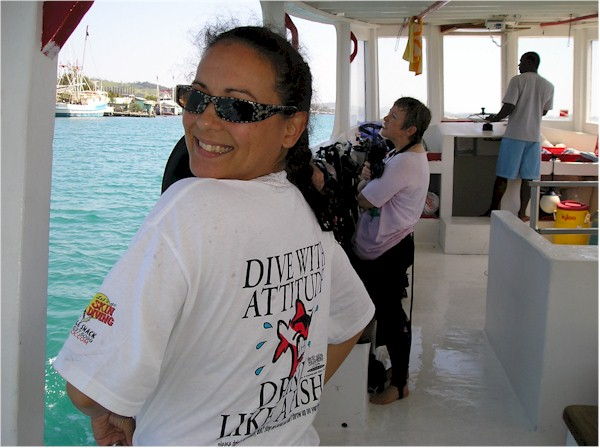 Renee on her way out from Roatan, Honduras for a day dive excursion.