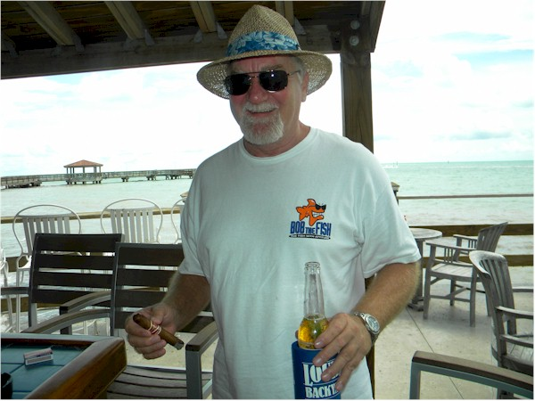 Here's Bob and the fish on our recent vacation to Key West. Bob has several tee shirts and wears them most weekends relaxing here in Bradenton. We just love the shirts, apron, hats and have bought many for other Bob's too, with more to come. Great idea, Bob! Thanks Bob and Jeanette
