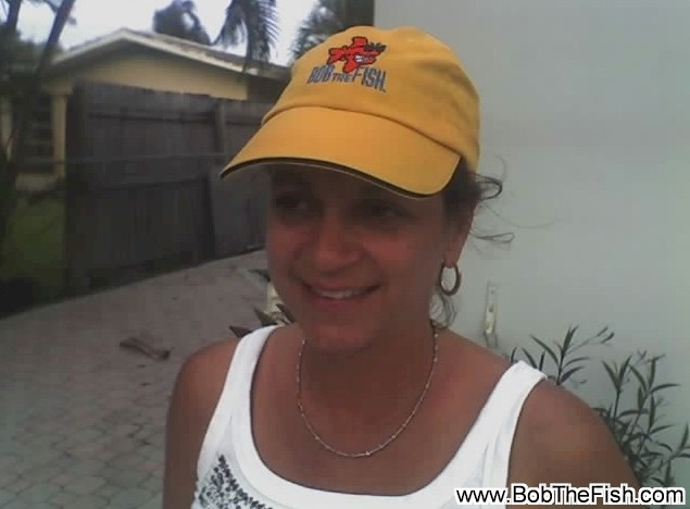 Jackie sportin' her limited edition mustard Bob the Fish dive cap