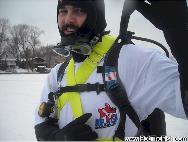 Brian Myers Dive Master intern. Ice Dive training on Union Lake Commerce Township, Michigan.