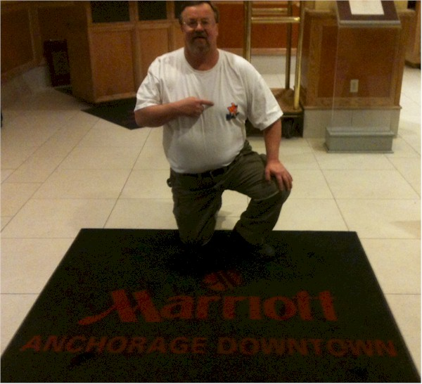 Alaskan bush pilot Bob, on a layover at the beautiful Marriott Anchorage downtown.  Gotta go fishing with Bob this year!