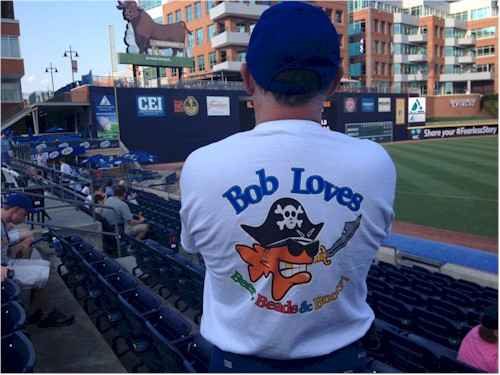 Bob made his way to Durham, NC to see a Durham Bulls baseball game.  (See the historic Durham Bull over my left shoulder...)  And it 2 weeks the Triple-A All Stars game will be played here at the DBAP!  Bob certainly loves baseball. Robert Shell