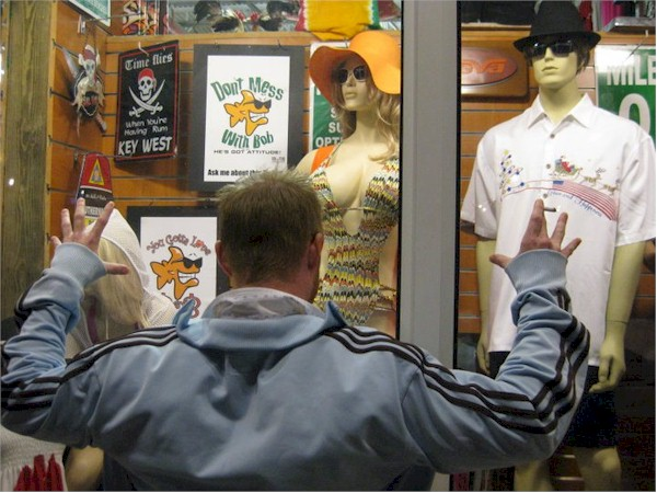 Here's a guy in Key West for a bachelor party. Is he a Bob the Fish fanatic or a lover of mannequins?