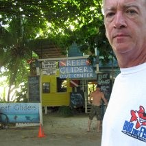 Hi- Bob is in West End, Roatan at the Reef Gliders dive shop.