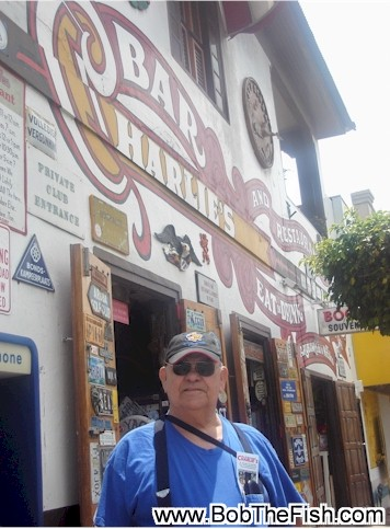Bob The Fish while in Aruba. I didn't have my T-shirt but I did have my Bob the Fish hat. Bob standing in front of Charlies Bar in San Nicholas.