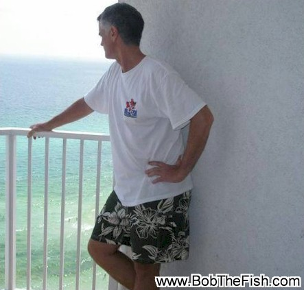 Mike Smith on the 21st Floor, Boardwalk Condominiums, Panama City Beach, FL decked out in full Bob the Fish attire.