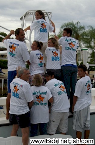 My friend and avid fisherman Bob loved the shirts. We are on Bob's boat the
