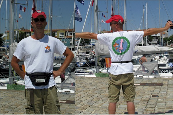 Roul van den Heuvel in his Bob the Fish T-shirt It's not the size of your bait, it's how you wiggle your worm in Harbour Rochelle in France. Roul was on holiday from The Netherlands Everyday I could show Bob this nice area in France.